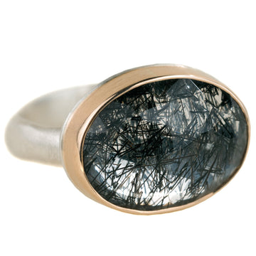 Tourmalinated Quartz Ring - Sterling Silver + 14k Gold