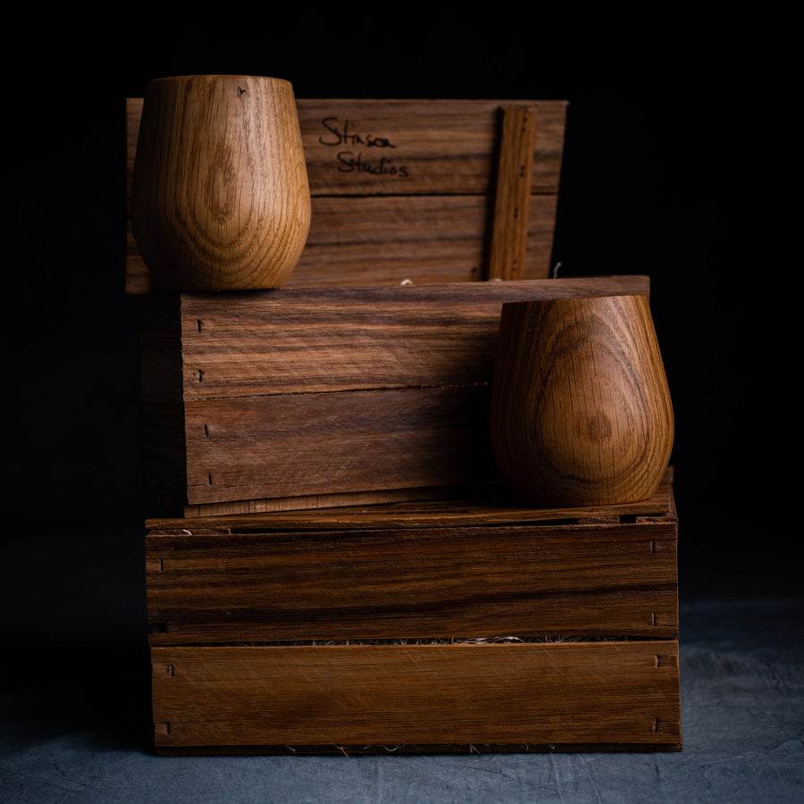 Oak Charred Tumblers & Gift Crate