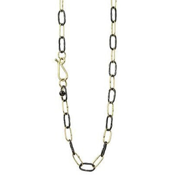 Two Tone Bowline Wrap Midi Links Necklace In 18k Gold & Oxidized Silver