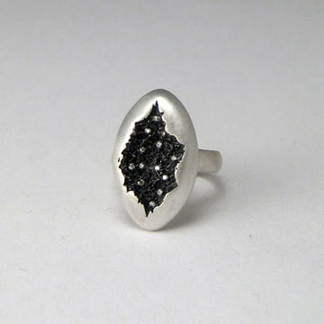 Oval Crater Ring In Matte + Oxidized Silver With Diamonds