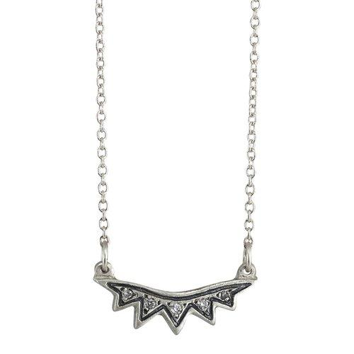 Sunburst Necklace Featuring Silver & Diamonds