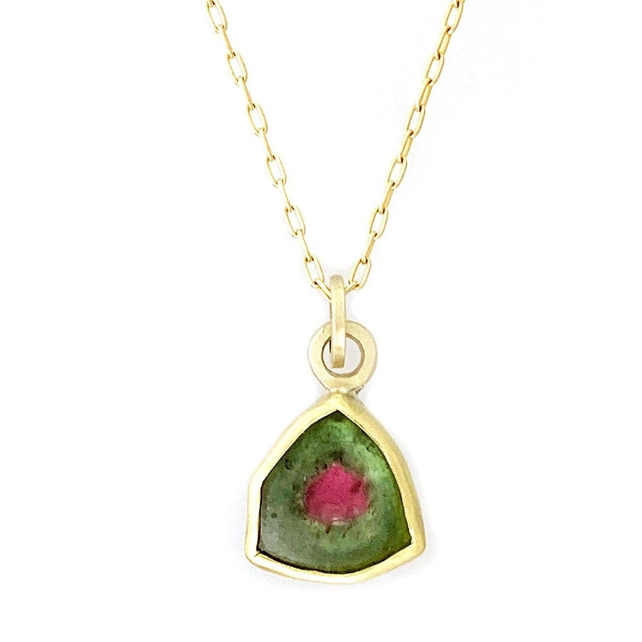Framed Watermelon Tourmaline Small Slice Necklace - 14k Gold