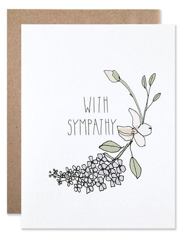 """With Sympathy"" Lilacs Floral Card"