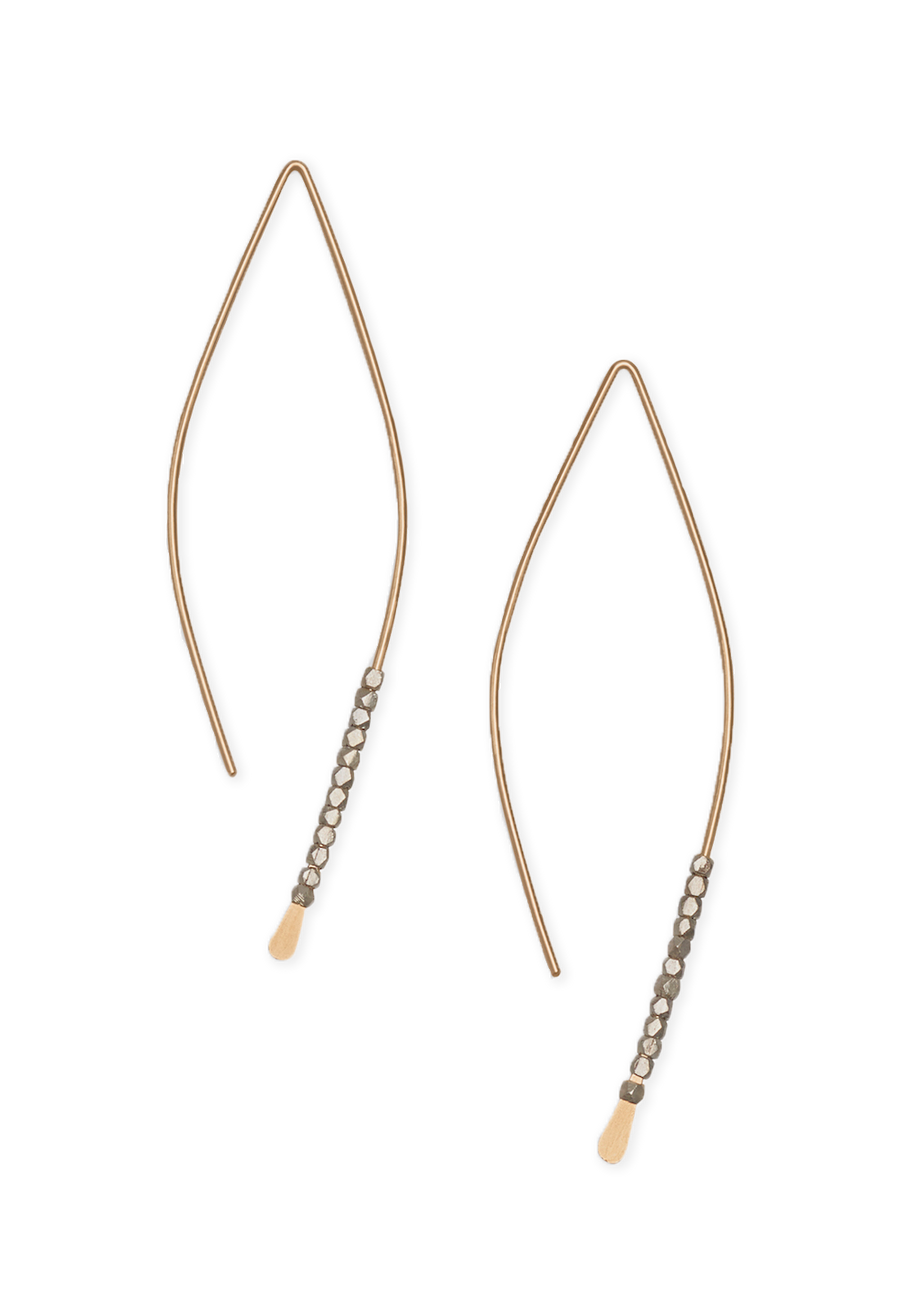 Bead Crescent Earrings - Sterling Silver, 14k Gold Fill