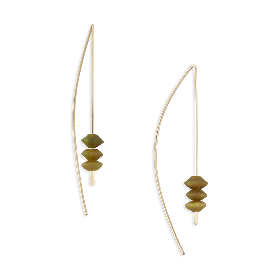 Large Arch Earrings - Green Onyx + 14k Gold Fill