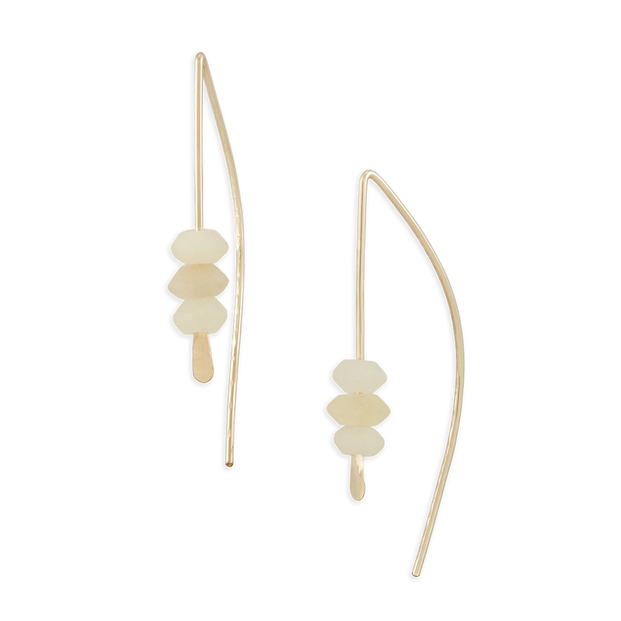 Small Arch Earrings - White Onyx + 14k Gold Fill