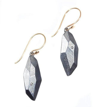 Flat Faceted Earrings - Oxidized Silver, White Sapphires + 14k Gold Wires