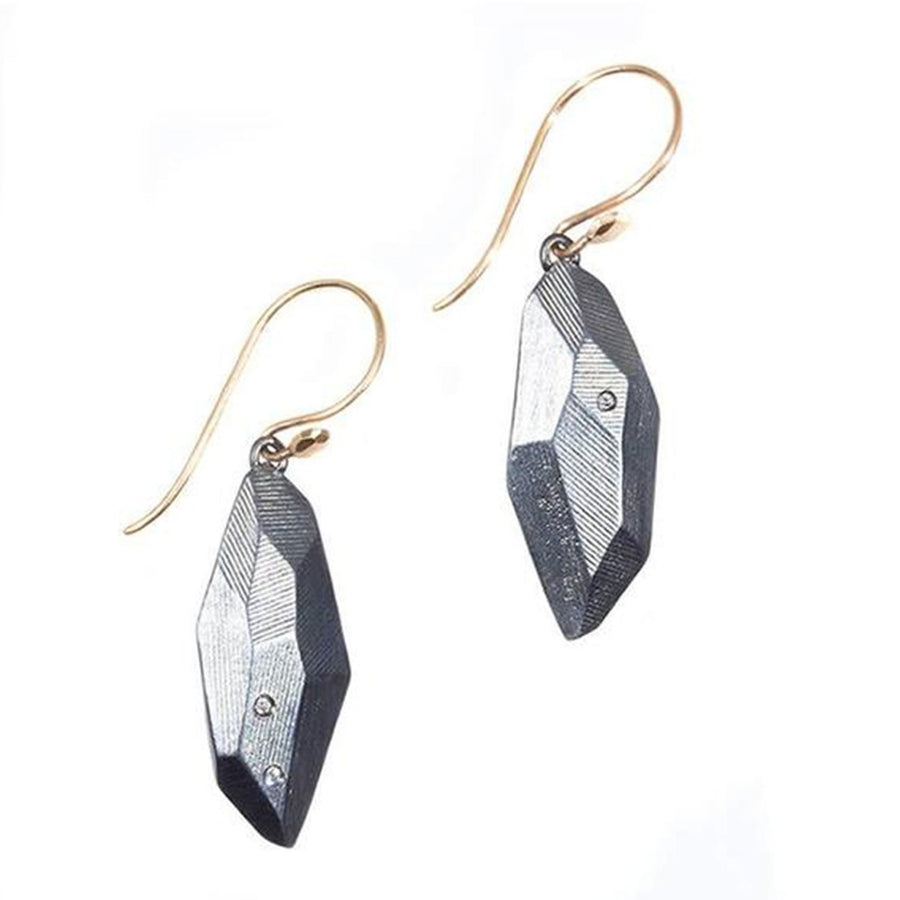 Flat Faceted Earrings - Oxidized Silver, White Sapphires + 14k Gold Earwires