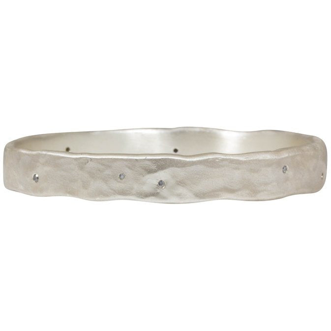 Hammered Oval Bangle in Silver with 10 Grey Sapphires