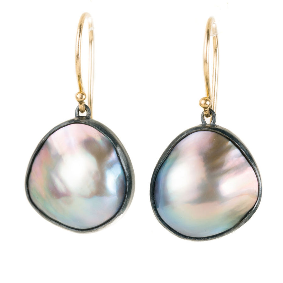 Organic Shaped Mabe Pearl Earrings - Oxidized Silver With Gold