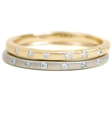 Contemporary Diamond Stacker - 18ky Gold, 14kpw Gold + VS Diamonds