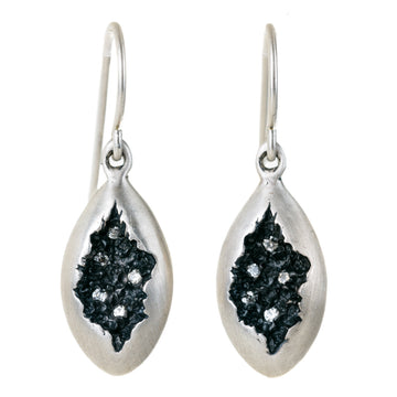 Oval Crater Earrings In Silver with Diamonds