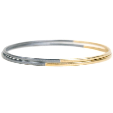 Black + Gold Legacy Stacker Bangles - 18k gold + Oxidized Silver
