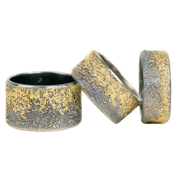 Black + Gold Dusted Band - 22k Gold + Oxidized Argentium Silver