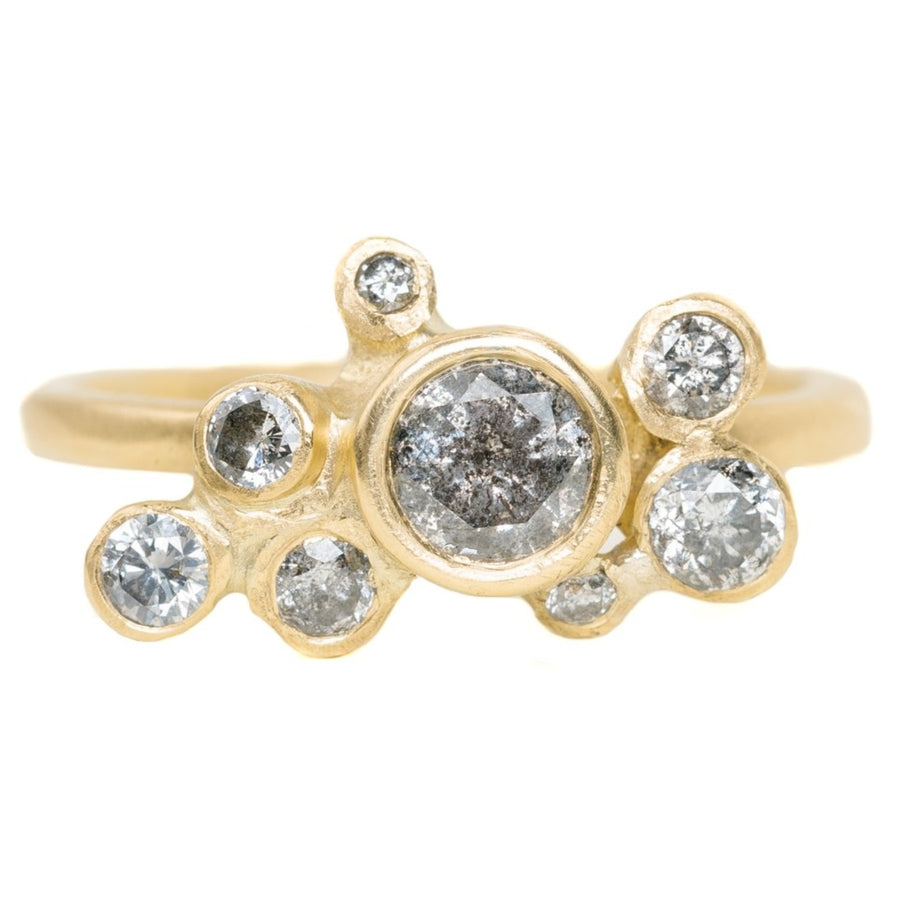 Legacy Diamond Ring - 18ky Gold Cluster Style Bezel Set with Salt + Pepper Brilliant Cut Diamonds