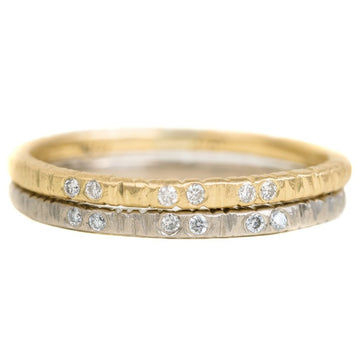 Aspen Wedding Stackers with Diamonds - 18ky Gold, 14kpw Gold + VS Diamonds