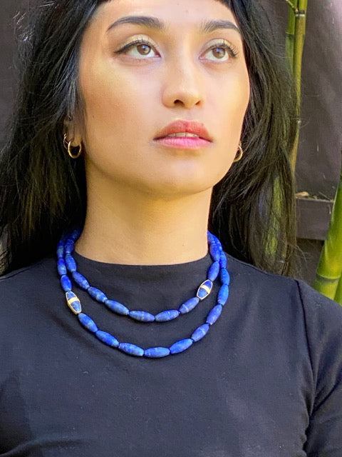 Long Lapis Bead Necklace with Three Wrapped Beads in 22k Gold