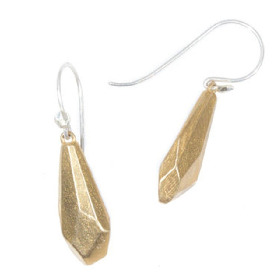 Round Faceted Earrings in Yellow Bronze with Silver Wires