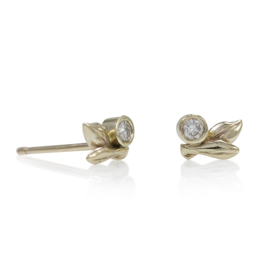 Spring Dewdrop Posts - 14k Gold + Diamonds