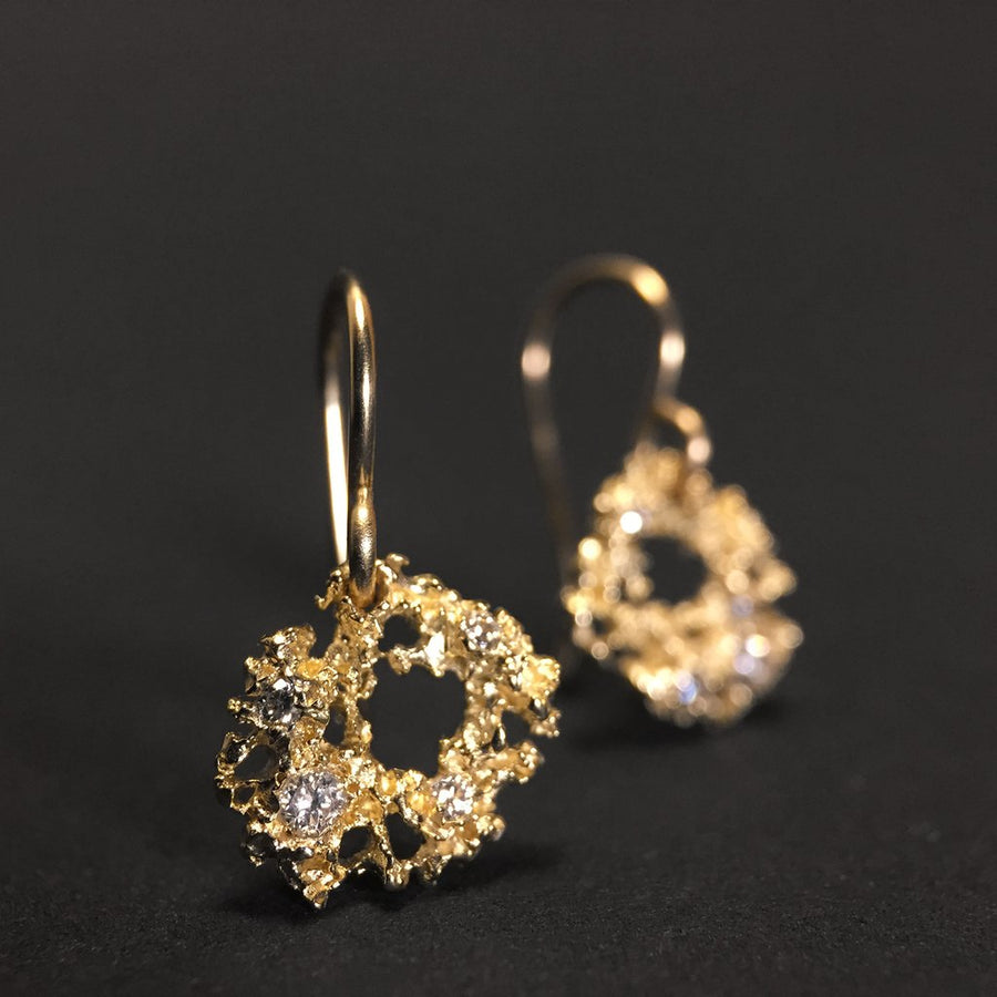 Nebula Earrings in 14ky + Diamonds