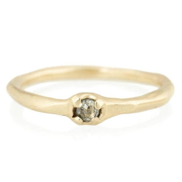 Tiny Prong Ring - Diamond + 14k Gold