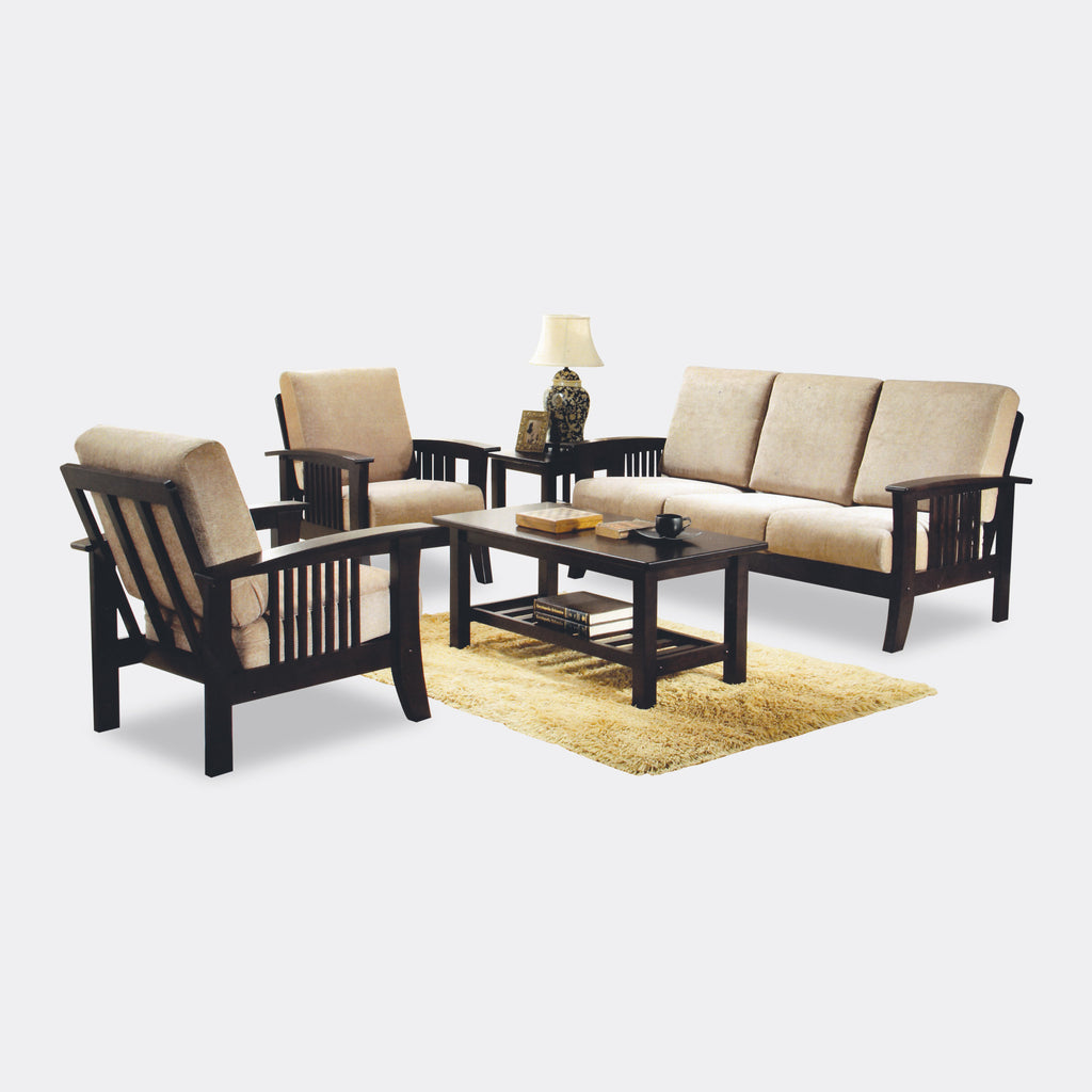 Tony 3 1 1 Seater Wooden Sofa Set With Coffee Table And Side Table  ~ Wooden Sofa Sets For Living Room