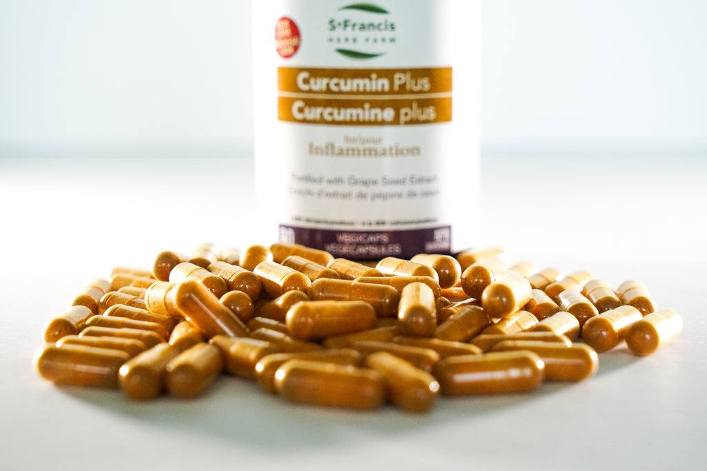Picture of Curcumin Capsules on a white table