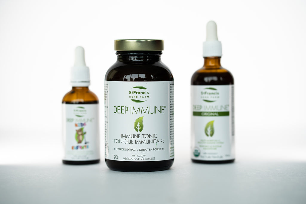 A line of Deep immune products on a white table