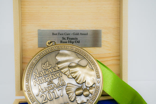 A National Nutrition gold award sits inside it's box propped up against the lid