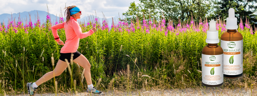 Woman out for a run beside a field of large pink flowers and two bottles of St. Francis Herb Farm Deep Immune for Allergies in the corner