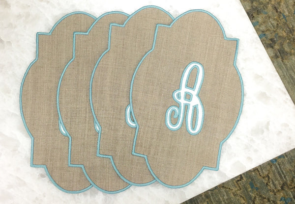 Single Initial Cocktail Napkins (Set of Four)