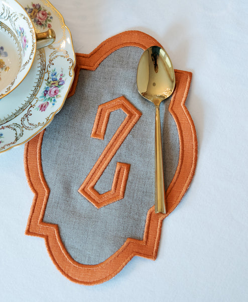 Single Letter Applique Border Cocktail Napkin (Set of Four)
