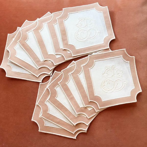 Square Applique Coaster Napkin with Monogram (Set of four)