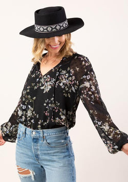 LOVESTITCH - SHEER CLIP DOT BOHO BLOUSE | BLACK/SLATE - The Cabana