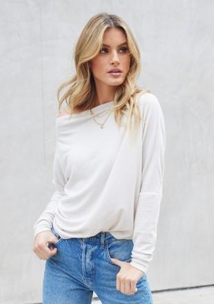 LOVESTITCH - MICRO RIBBED OFF SHOULDER TOP | NUDE - The Cabana