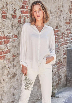 LOVESTITCH - POLKA DOT BUTTON DOWN BLOUSE | IVORY/ROSE - The Cabana