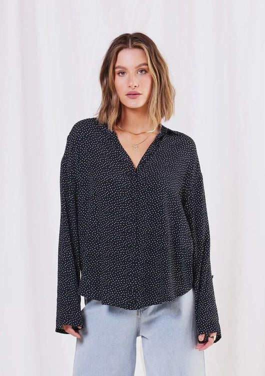 LOVESTITCH - POLKA DOT BUTTON DOWN BLOUSE | BLACK/IVORY - The Cabana
