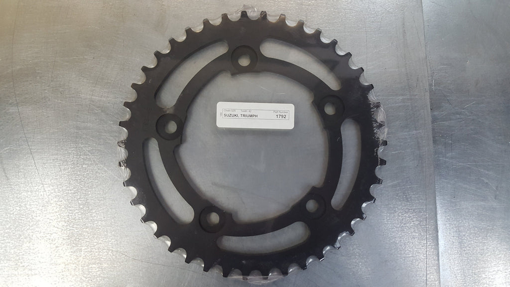 #1792-42T Rear Sprocket - DL1000 Vstrom DL650 GSXR600 GSXR1000 GSXR750 Bonneville Thruxton - 525 Pitch - Hard Anodized Aluminum