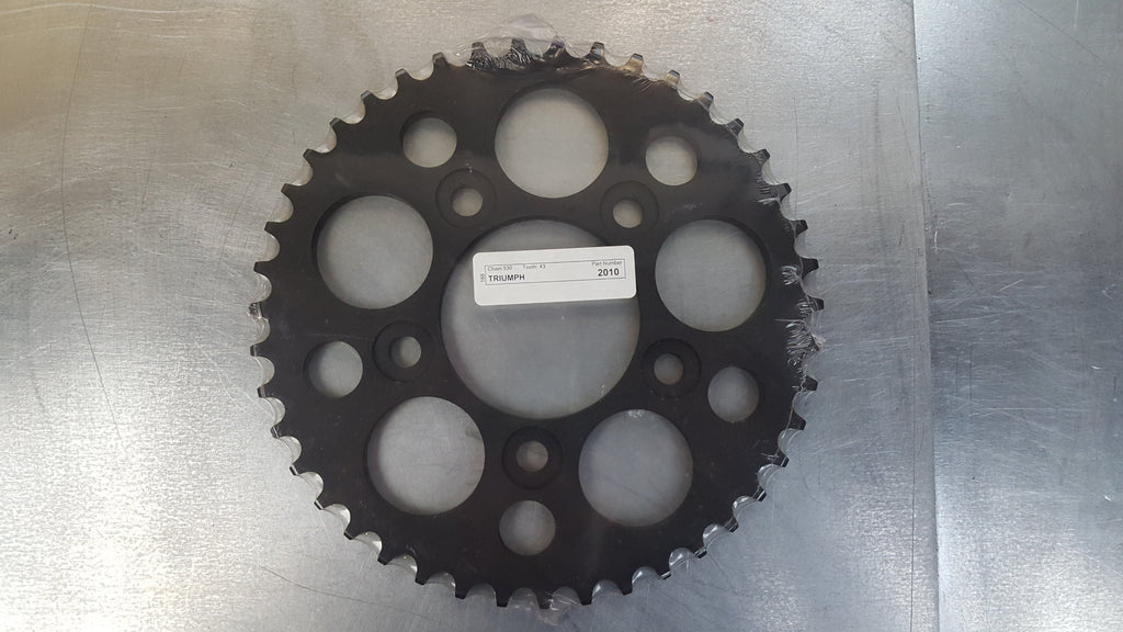 #2010-43T Rear Sprocket - Triumph 1000 750 900 Daytona 1200 Trophy 955 Tiger - Hard Anodized Aluminum