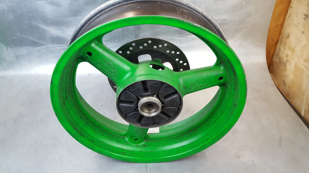 painted green rear wheel .010 off 1g sv650 99-02