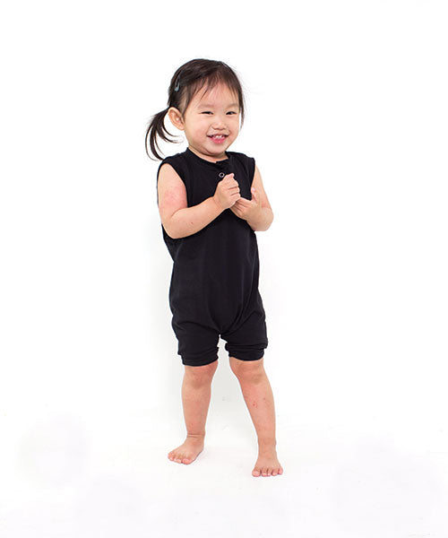 Aussie made kids clothing. My Bijou black toddler kids romper - wearable art collections