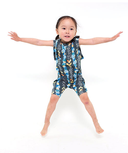 Aussie made kids clothing - toddler romper with watercolour fabric design