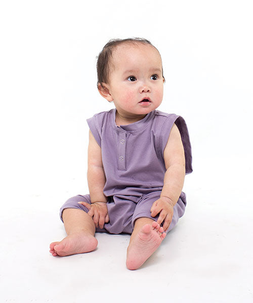 Aussie made kids clothing - toddler romper plain coloured clothing Lavender