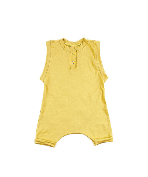 Aussie made kids clothing - toddler romper plain coloured clothing Mustard