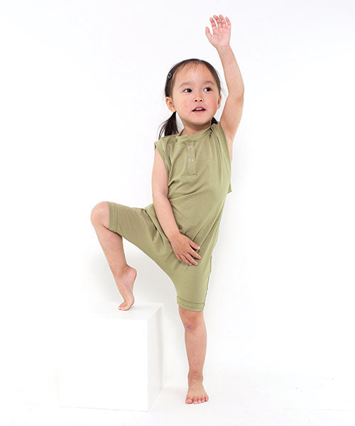 Aussie made kids clothing - toddler romper plain coloured clothing Olive
