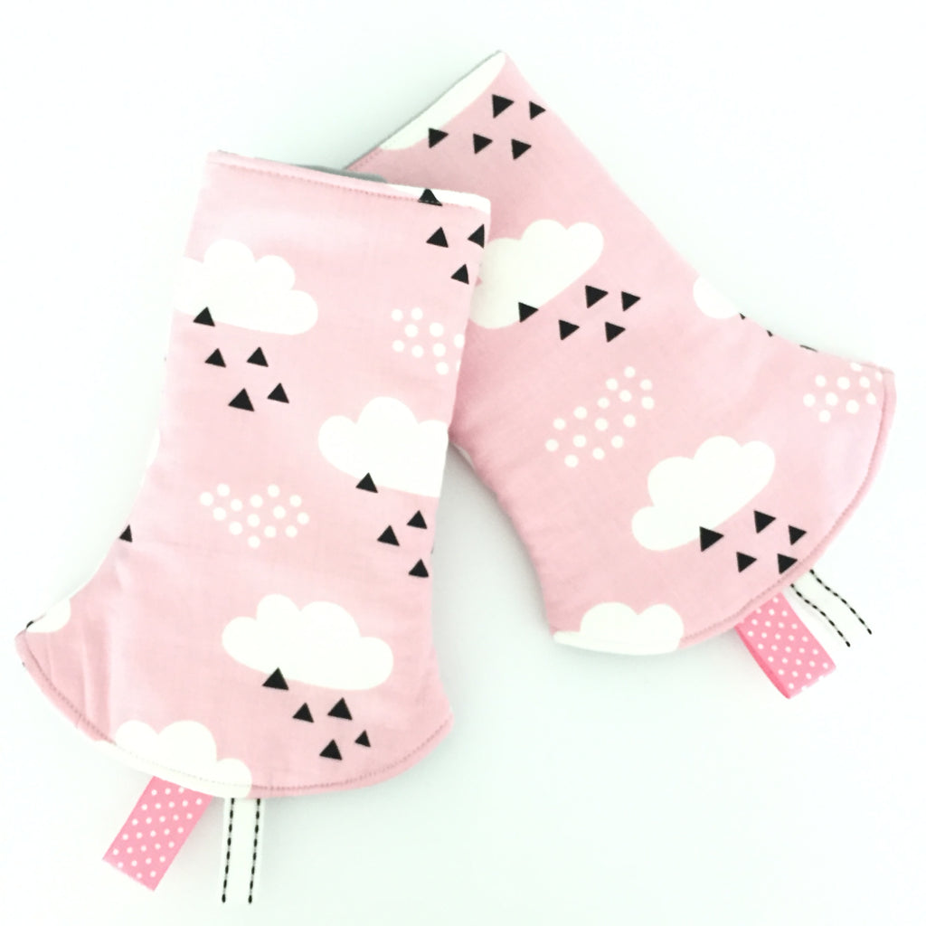 Cloudy Day Pink Corner Drool Pads - Quirki Babies