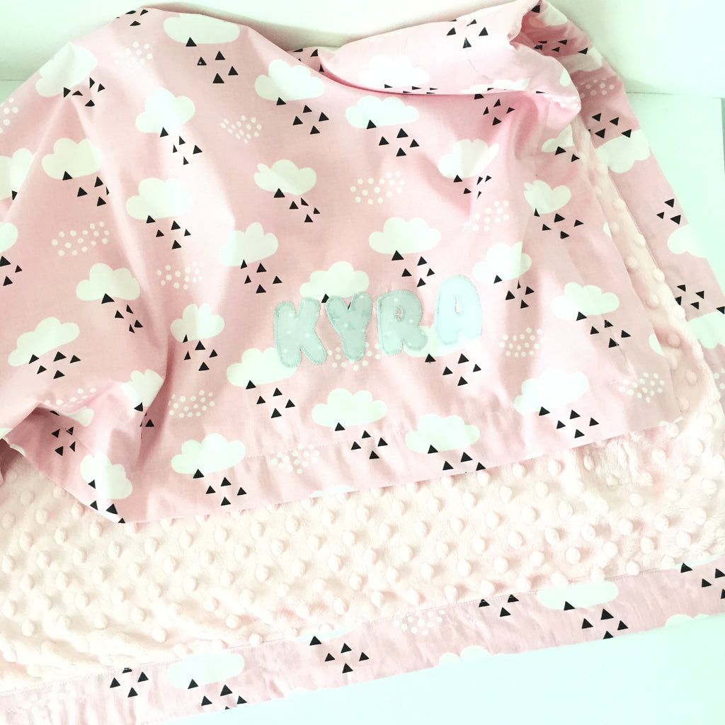Cloudy Day In Pink Minky Blanket - Quirki Babies
