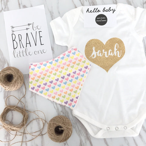 Lovely Hearts Romper + Bib Gift Set - Quirki Babies