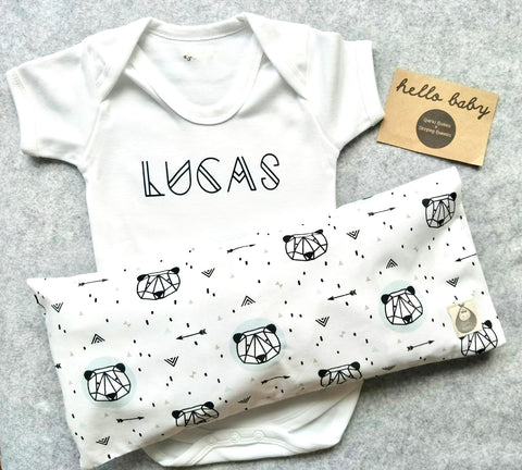 Geometric Bear BSH Pillow + Romper Gift Set - Quirki Babies