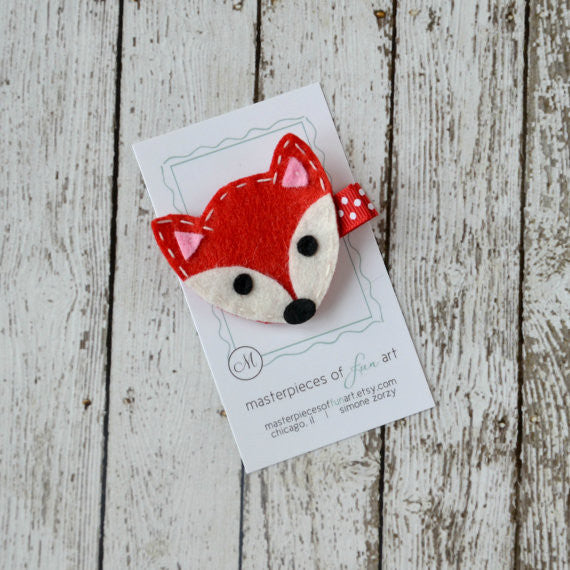 Red Fox Felt Hair Clip - Quirki Babies